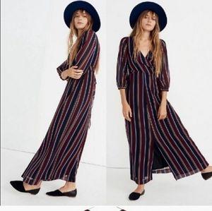 Madewell Wrap Around Maxi Dress Stockdale Stripe